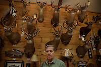 Bud Pirserchia has 350 mounts from mice to moose.  He owns North Country Taxidermy and Adirondack Reflections in the village.  He always liked working to stuff dead animals.  He is busy year around bringing dead animals back to life  for private clients and to sell in his shop..
