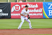 Alex Yarbrough (7) of the Salt Lake Bees on defense against the Sacramento River Cats in Pacific Coast League action at Smith's Ballpark on April 7, 2016 in Salt Lake City, Utah. Salt Lake defeated Sacramento 5-2. (Stephen Smith/Four Seam Images)