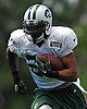 Matt Forté #22, New York Jets running back, races upfield during training camp at Atlantic Health Jets Training Center in Florham Park, NJ on Wednesday, Aug. 17, 2016.