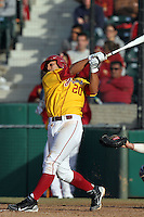 Jake Hernandez, #20, of the USC Trojans bats against the North Carolina Tar Heels at Dedeaux Field on February 20, 2011 in Los Angeles,California. Photo by Larry Goren/Four Seam Images