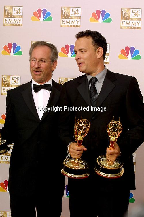 ©2002 KATHY HUTCHINS / HUTCHINS PHOTO.54TH ANNUAL EMMY AWARDS.LOS ANGELES, CA.SEPTEMBER 22, 2002..STEVEN SPIELBERG.TOM HANKS