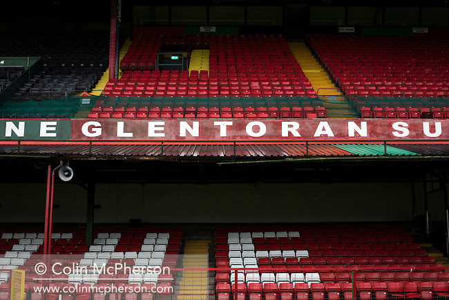 The two-tier main stand reserved for home fans at The Oval, Belfast, pictured before Glentoran hosted city-rivals Cliftonville in an NIFL Premiership match. Glentoran, formed in 1892, have been based at The Oval since their formation and are historically one of Northern Ireland's 'big two' football clubs. They had an unprecendentally bad start to the 2016-17 league campaign, but came from behind to win this fixture 2-1, watched by a crowd of 1872.