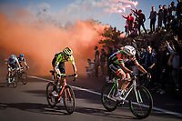 Mirco Maestri (ITA/Bardiani - CSF) & Luca Raggio (ITA/Neri Sottoli - Selle Italia - KTM) pull up the Capo Berta<br /> <br /> thik smoke once again covers the Capo Berta passage of the riders > but this time year the bushes (will) catch fire (!! 🔥) and flair up just as the riders ride by<br /> <br /> 110th Milano-Sanremo 2019 (ITA)<br /> One day race from Milano to Sanremo (291km)<br /> <br /> ©kramon