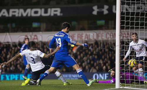 01.01.2015.  London, England. Barclays Premier League. Tottenham versus Chelsea. Chelsea's Diego Costa scores the opening goal.