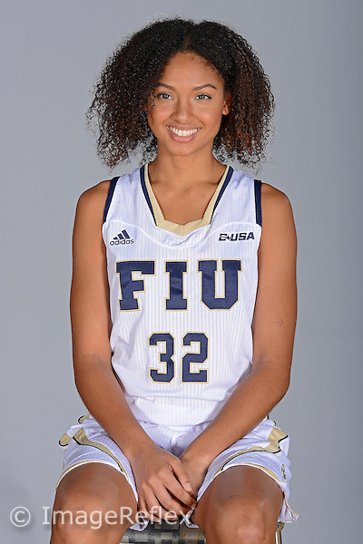 14 October 2015:  FIU forward Soraya Page (32) poses during picture day at FIU Arena in Miami, Florida.