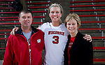 Wisconsin Badgers Jessa Benson poses with her parents after an NCAA volleyball match against the Michigan Wolverines at the Field House on October 30, 2010 in Madison, Wisconsin. Michigan won the match 3-1. (Photo by David Stluka)
