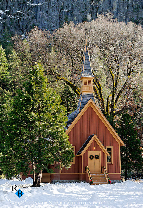 Yosemite Chapel decorated for the winter Christmas season