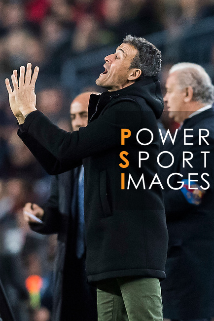 Coach Luis Enrique Martinez Garcia of FC Barcelona reacts during their Copa del Rey 2016-17 Semi-final match between FC Barcelona and Atletico de Madrid at the Camp Nou on 07 February 2017 in Barcelona, Spain. Photo by Diego Gonzalez Souto / Power Sport Images