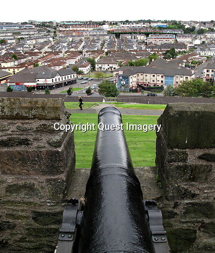 A view of The Bogside from the wall in Derry, Northern Ireland. Bogside is a neighborhood outside the city walls.  The area has been a focus point for many of the events of &quot;The Troubles&quot;, from the Battle of the Bogside and Bloody Sunday in the 1960s and 1970s.<br />