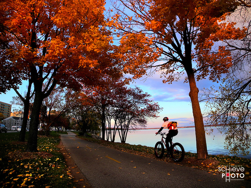 The bike/pedestrian path along the shore of Lake Monona in Madison, Wisconsin.