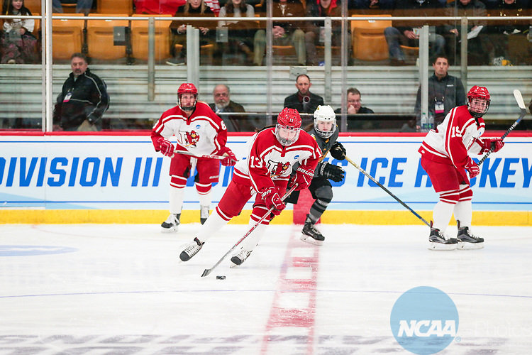 ADRIAN, MI - MARCH 18: Meghan Kraus (13) of Plattsburgh State University controls the puck during the Division III Women's Ice Hockey Championship held at Arrington Ice Arena on March 19, 2017 in Adrian, Michigan. Plattsburgh State defeated Adrian 4-3 in overtime to repeat as national champions for the fourth consecutive year. by Tony Ding/NCAA Photos via Getty Images)