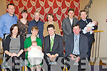 CHRISTENED: Finnegan Dowling who was christened in the church of the purification in Churchill, on Sunday and afterward to Ballyroe Heights hotel for refreshment. Front l-r: Ann-Marie Dowling, Tam,Finnergan (baby)Desmond and Padraig Dowling. Back l-r: Noel,Phil,Paul and John Dowling,Martin Kantchev,Paul and Brendan Dowling.........................Abbeydorney V ballyheigue in the County League Final in Abbeydorney on Sunday.....