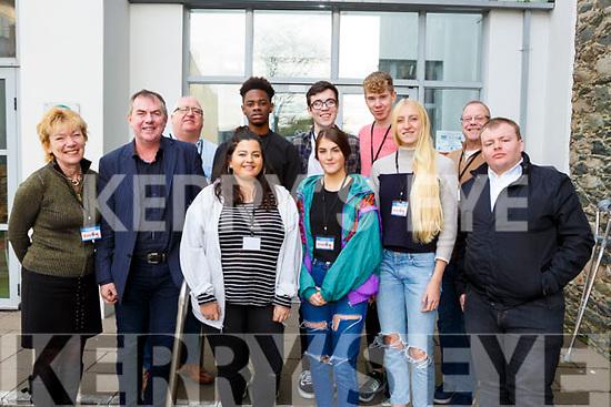 Jane Trimble, Maya Darnton, Annya Flaherty, Kate Seary, and Fintan Dwyer Back row: Patrick Burke, Niko Kistitu, Liam McVerry, Kevin McKenna and Ian McLoughlin at the Brexit senimar in Killarney KDYS on Thursday