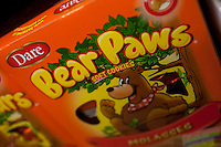 A box of Dare Bear Paws cookies is seen in a Metro grocery store in Quebec city March 4, 2009.