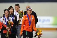 SPEED SKATING: SALT LAKE CITY: 22-11-2015, Utah Olympic Oval, ISU World Cup, Mass Start Ladies, Ivanie Blondin (CAN), winner Irene Schouten (NED), ©foto Martin de Jong
