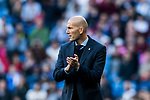 Manager Zinedine Zidane of Real Madrid reacts during the La Liga 2017-18 match between Real Madrid and RC Deportivo La Coruna at Santiago Bernabeu Stadium on January 21 2018 in Madrid, Spain. Photo by Diego Gonzalez / Power Sport Images