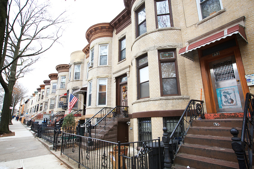BROOKLYN, NY - JANUARY 16, 2016: Houses on 53rd Street, between 6th and 7th Avenues in Sunset Park.<br /> CREDIT: Clay Williams for the New York Times.<br /> <br /> &copy; Clay Williams / claywilliamsphoto.com