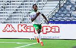 Stockholm 2014-07-20 Fotboll Superettan Hammarby IF - &Ouml;sters IF :  <br /> Hammarbys Amadayia Rennie har gjort 1-0 till Hammarby och klappar sig f&ouml;r br&ouml;stet klubbm&auml;rket n&auml;r han jublar framf&ouml;r Hammarbys supportrar<br /> (Foto: Kenta J&ouml;nsson) Nyckelord:  Superettan Tele2 Arena Hammarby HIF Bajen &Ouml;ster &Ouml;IF jubel gl&auml;dje lycka glad happy
