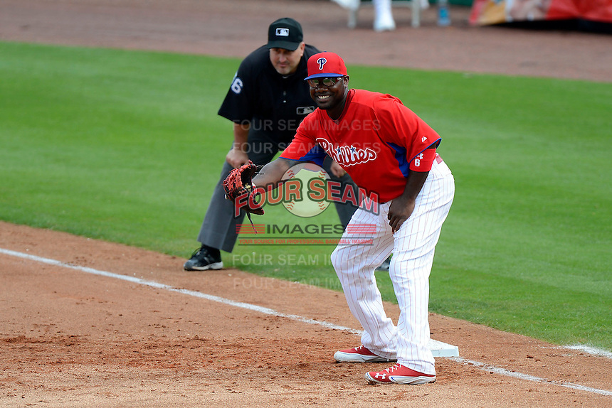 Philadelphia Phillies first baseman Ryan Howard #6 during a Spring Training game against the New York Yankees at Bright House Field on February 26, 2013 in Clearwater, Florida.  Philadelphia defeated New York 4-3.  (Mike Janes/Four Seam Images)