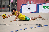 26th June 2020, Dusseldorf, Germany; The German Beach Volleyball League; Felix Gluecklederer dives to save a shot