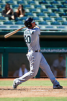 Peoria Javelinas infielder Vinnie Catricala #20, of the Seattle Mariners organization, during an Arizona Fall League game against the Mesa Solar Sox at HoHoKam Park on October 15, 2012 in Mesa, Arizona.  Peoria defeated Mesa 9-2.  (Mike Janes/Four Seam Images)