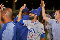 Ogden Raptors manager Mark Kertenian (7) congratulates his team after the Ogden Raptors clinched the South Division Championship against the Orem Owlz at Home of the Owlz on September 11, 2017 in Orem, Utah. Ogden defeated Orem 7-3. (Stephen Smith/Four Seam Images)
