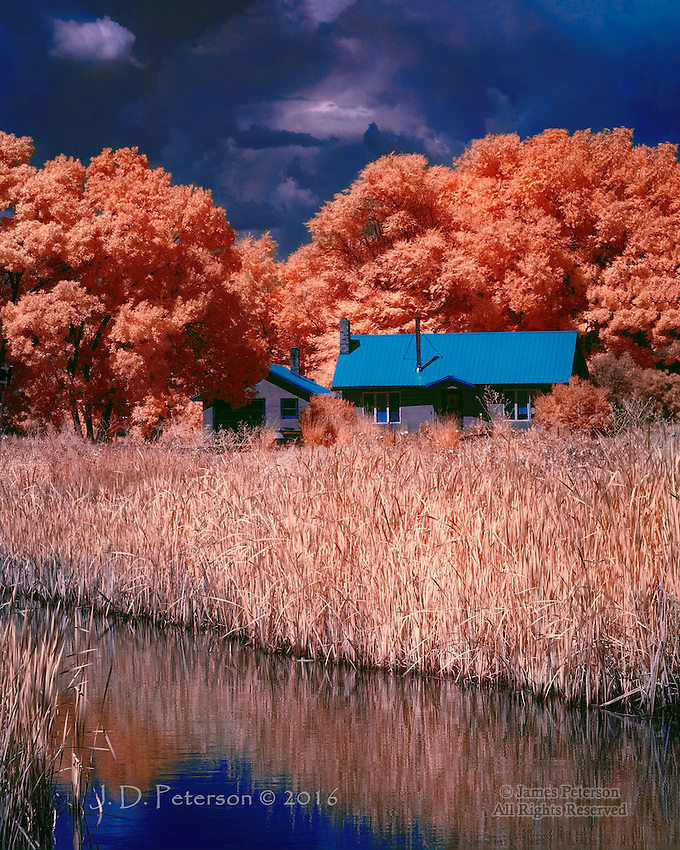 Farmhouse along Rio Grande, Colorado (Infrared) ©2016 James D Peterson.  Storm clouds boil above a rural homestead alongside the Rio Grande outside the town of Alamosa.