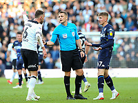 Referee Craig Pawson has a word with Derby County's Richard Keogh and Leeds United's Jack Clarke<br /> <br /> Photographer Alex Dodd/CameraSport<br /> <br /> The EFL Sky Bet Championship Play-off  First Leg - Derby County v Leeds United - Thursday 9th May 2019 - Pride Park - Derby<br /> <br /> World Copyright © 2019 CameraSport. All rights reserved. 43 Linden Ave. Countesthorpe. Leicester. England. LE8 5PG - Tel: +44 (0) 116 277 4147 - admin@camerasport.com - www.camerasport.com