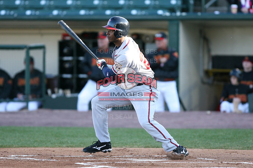 April 15th 2008:  Outfielder Brandon Jones (28) of the Richmond Braves, Class-AAA affiliate of the Atlanta Braves, during a game at Frontier Field in Rochester, NY.  Photo by:  Mike Janes/Four Seam Images