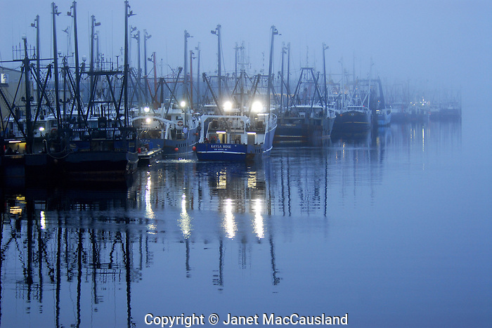 """New Bedford fishing trawlers in a """"blue Hour"""" twilight mist, was awarded 3rd place in the Wickford Art Association's  May 19, 2013 all media exhibit """"The Blues""""."""
