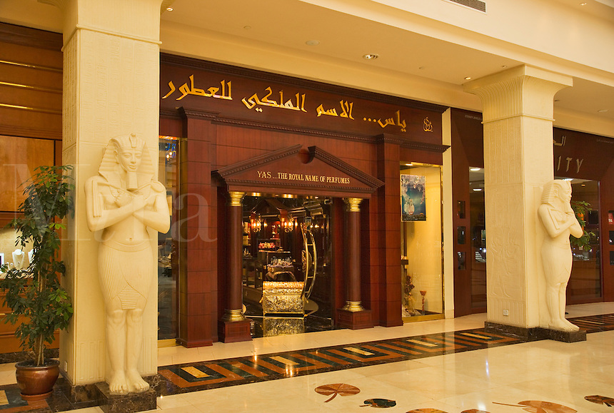 Dubai.  Perfume shop in new extension to Wafi Mall, designed in an Egyptian style.  Dubai?s most prestigious shopping mall..