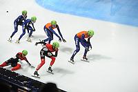 SCHAATSEN: DORDRECHT: Sportboulevard, Korean Air ISU World Cup Finale, 12-02-2012, Final Relay Men, Jinkyu Nohn KOR (54), Jung-Su Lee KOR (53), Freek van der Wart NED (63), Niels Kerstholt NED (61), Liam McFarlane CAN (9), Francois-Louis Tremblay CAN (10), ©foto: Martin de Jong