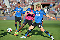San Jose, CA - Saturday July 01, 2017: Cordell Cato, Florian Jungwirth during a Major League Soccer (MLS) match between the San Jose Earthquakes and the Los Angeles Galaxy at Avaya Stadium.