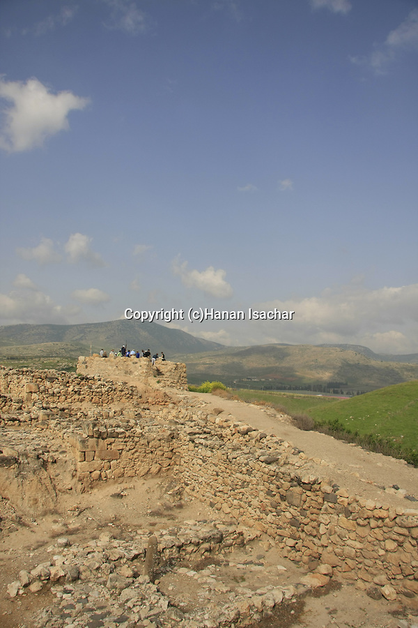 Israel, Upper Galilee. The Israelite tower at the northwestern corner of Tel Hazor, a World Heritage site