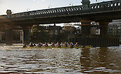 19.01.2014. River Thames, London, England. Both crews pass Putney Rail Bridge at the start of the Oxford University Boat Club Trial VIIIs. Stubborn VIII John Redos [Bow], Tom Watson [2], Joseph Dawson [3], James Mountain [4], Karl Hudspith [5], Nicholas Hazell [6], Sam O'Connor [7], Constantine Louloudis [Stroke], Sophie Shawdon [Cox], Persistant VIII Dominic Parr [Bow], Matthias Wyss [2], James Fraser-Mackenzie [3], Thomas Swartz [4], Malcolm Howard [5], Michael Di Santo [6], Iain Mandale [7], Chris Fairweather [Stroke], Laurence Harvey [Cox] The Trial serves as part of the selection process to determine who will represent Oxford University in the 160th running of the University Boat Race on April 6th 2014. The trial for the two eights, named Persistent and Stubborn is the only occasion during the season that the squad members can race side-by-side over the full four and a quarter miles of the Championship Course between Putney and Mortlake in a simulation of The BNY Mellon Boat Race.