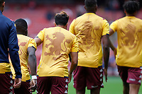 Aston Villa players warm up during the Premier League match between Arsenal and Aston Villa at the Emirates Stadium, London, England on 22 September 2019. Photo by Carlton Myrie / PRiME Media Images.