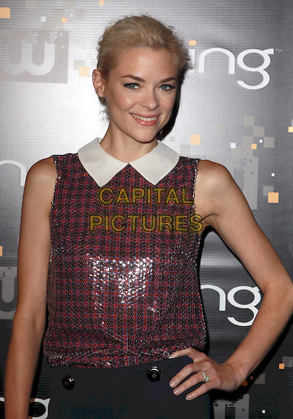 Jaime King.Bing Presents The CW Premiere Party for the New Fall Season Show Lineup held at Warner Bros Studio Lot, Burbank, California, USA..September 10th, 2011.half length sleeveless red check top white collar black hand on hip.CAP/ADM/CH.©Charles Harris/AdMedia/Capital Pictures