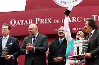 October 07, 2018, Longchamp, FRANCE - Frankie Dettori, John Gosden and others at winners celebration for the Qatar Prix de l'Arc de Triomphe (Gr. I) at  ParisLongchamp Race Course  [Copyright (c) Sandra Scherning/Eclipse Sportswire)]