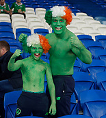 "9th October 2017, Cardiff City Stadium, Cardiff, Wales; FIFA World Cup Qualification, Wales versus Republic of Ireland; Irish fans Shane and Clayton Peppard, also known as The Green Hulks"", get ready for action at the Cardiff City Stadium"
