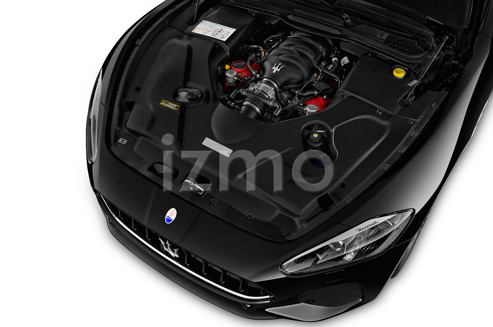 Car stock 2018 Maserati GranTurismo Sport 2 Door Coupe engine high angle detail view