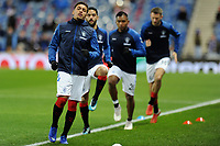Rangers players warm-up ahead of the match during Rangers vs Villarreal CF, UEFA Europa League Football at Ibrox Stadium on 29th November 2018