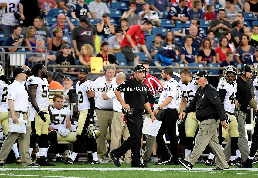 Thursday August 11, 2016: New Orleans Saints head coach Sean Payton watches the actions from the sideline during an NFL pre-season game between the New Orleans Saints and the New England Patriots held at Gillette Stadium in Foxborough Massachusetts. The Patriots defeat the Saints 34-22 in regulation time. Eric Canha/CSM