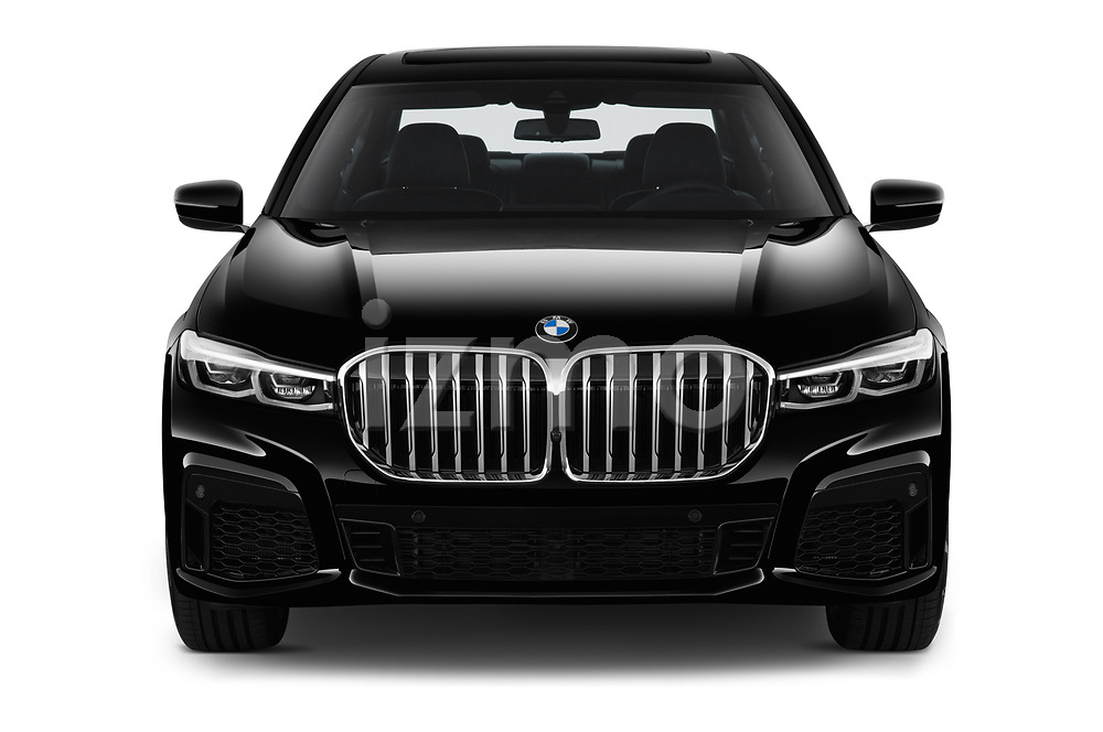 Car photography straight front view of a 2020 BMW 7 Series M Sport 4 Door Sedan