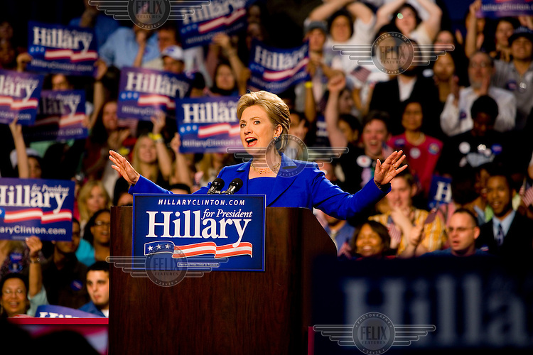 Hillary Clinton, Democrat candidate for President, makes a speech at Baruch College, New York after the final votes of the primary season. Despite having failed to earn enough delegates to receive the nomination, she refused to concede, preferring to fight on for a few more days.