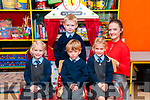 M/s Sarah Prendeville's junior infants class from Moyvane NS on their first day at school. L- R : Zoe McEvoy,  Liam Kearney, Eoin McEvoy, Amy McEvoy & M/s Sarah Prendeville.