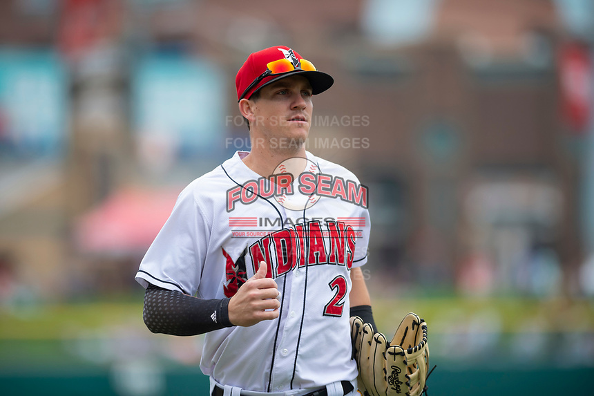 Indianapolis Indians left fielder Kevin Newman (2) jogs off the field between innings of an International League game against the Columbus Clippers on April 30, 2019 at Victory Field in Indianapolis, Indiana. Columbus defeated Indianapolis 7-6. (Zachary Lucy/Four Seam Images)