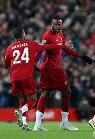30th October 2019; Anfield, Liverpool, Merseyside, England; English Football League Cup, Carabao Cup, Liverpool versus Arsenal; Divock Origi of Liverpool celebrates with Rhian Brewster of Liverpool after scoring  his teams fourth goal after 62 minutes to level the score at 4-4 - Strictly Editorial Use Only. No use with unauthorized audio, video, data, fixture lists, club/league logos or 'live' services. Online in-match use limited to 120 images, no video emulation. No use in betting, games or single club/league/player publications