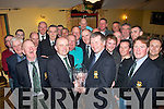 CAPTAINS PRIZE: Old reserves golf society captain Jer Curtin (centre left) presents the winning prize to Gene Kelly last Saturday night in Stokers Lodge, Tralee after they played 18 holes at O'Mahony's golf course, Killarney on Captain's prize day.