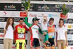 Pablo Urtasun (Euskaltel Euskadi team) wins the first stage of the Castilla and Leon 2013 Cycling Tour. Podium with Pablo Urtasun (Euskaltel Euskadi team), Francesco Lasca (Caja Rural) and Enrique Sanz (Movistar Team)The first stage of the 28th tour took place from Arevalo (Avila) to Valladolid. April 12, 2013. Valladolid, Spain. (Alterphotos/Victor J Blanco)