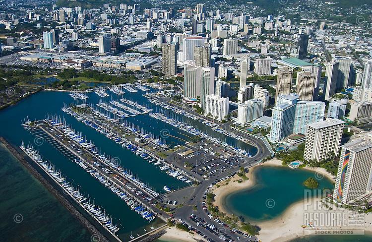 Aerial of Ala Wai harbor  and Hilton lagoon in Waikiki, Oahu